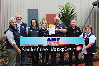 Smoke free Workplace Working Group members Sally Perry, Steve Rodis, Jacqueline Deane, Megan Clifford from the Grampians Goldfield Heathy Together Program, Jim Bendall, Garry Keith, Cyndi Bowater with the recognition certificate from the Victorian Government as a healthy workplace and successfully meeting state-wide benchmarks for smoking.